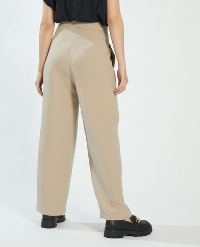Pantalone con pieghe beige - Pimkie