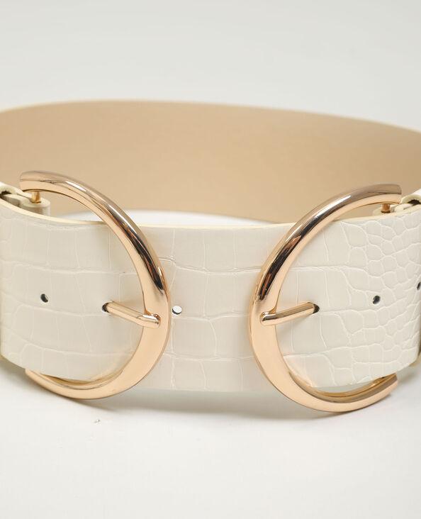 Cintura ampia in similpelle effetto rettile beige - Pimkie