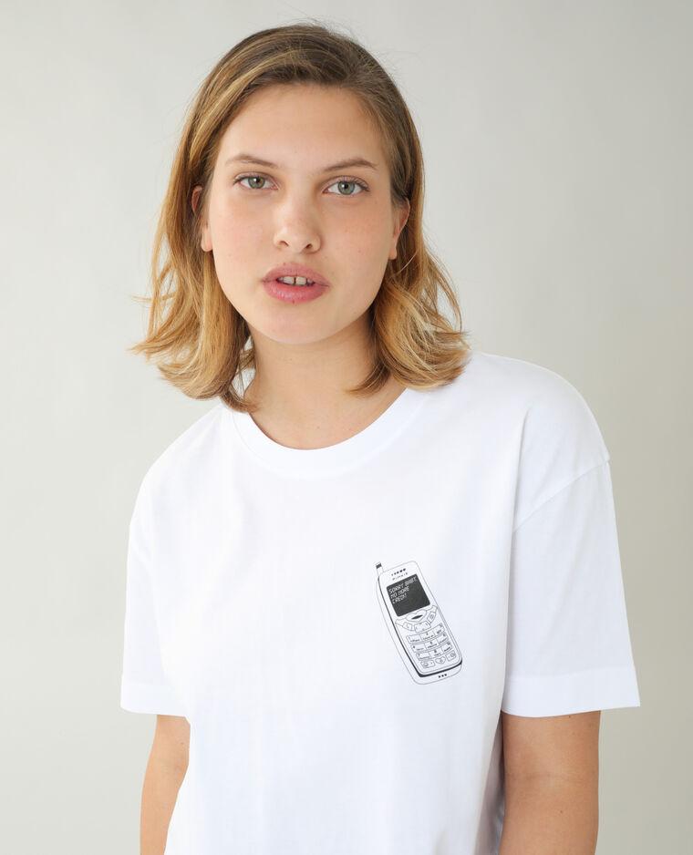 T-shirt ampia con telefono bianco