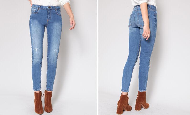 Jeans skinny mid waist blu scuro