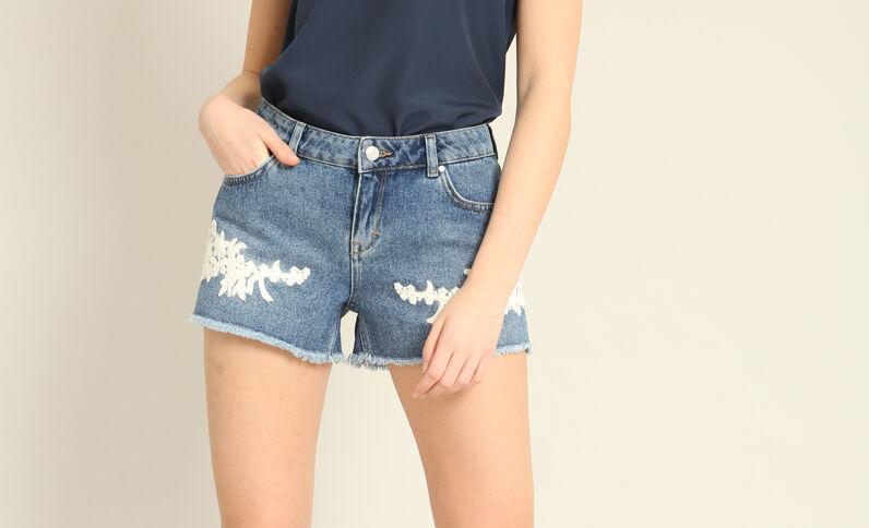 Short in jeans ricamato blu denim