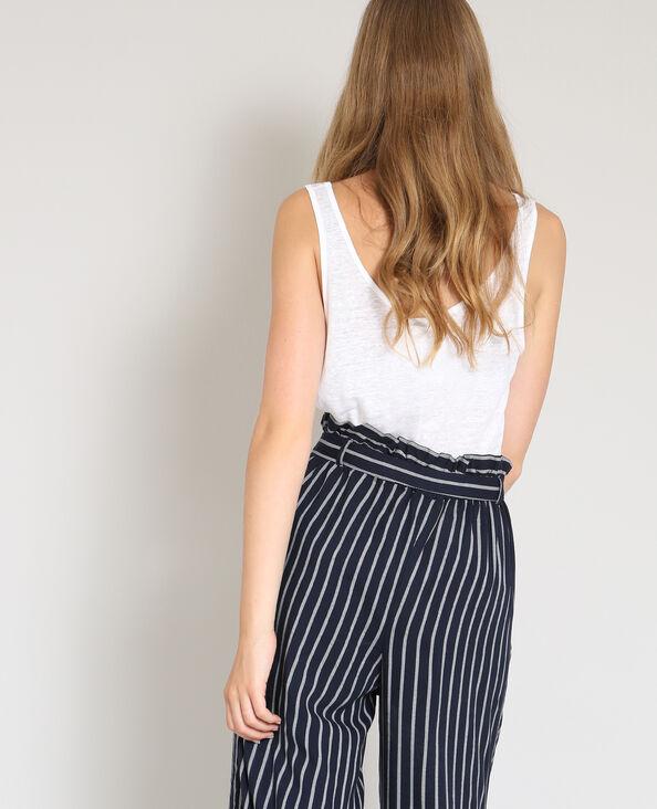 Top in lino bianco