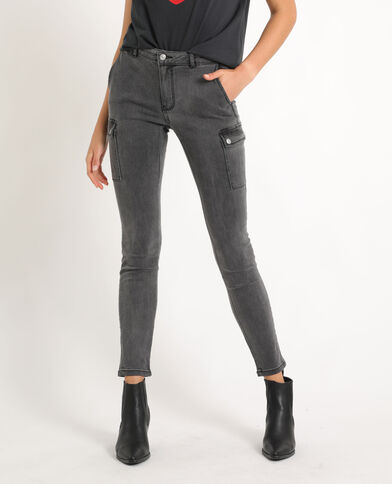 Jeans slim con tasche grigio antracite