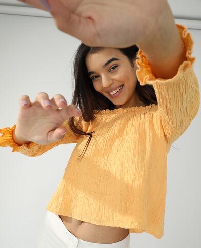 Blusa arricciata arancio - Pimkie