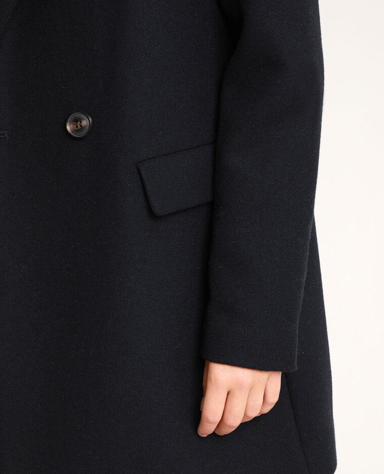Cappotto in panno di lana blu marino