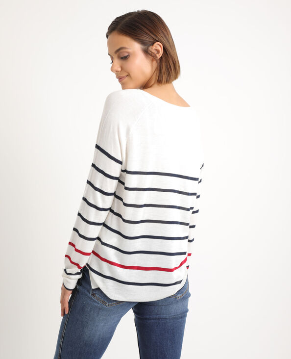 Pull sottile a righe bianco sporco