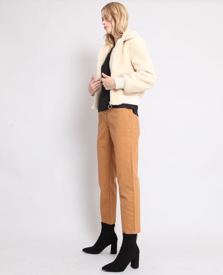 Pantalone con bottoni cammello