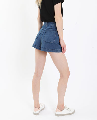 Short in jeans high waist blu scuro