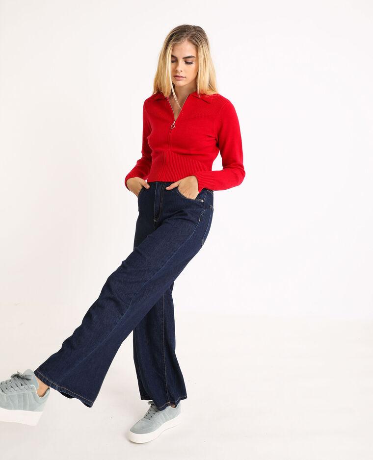 Cardigan con zip rosso