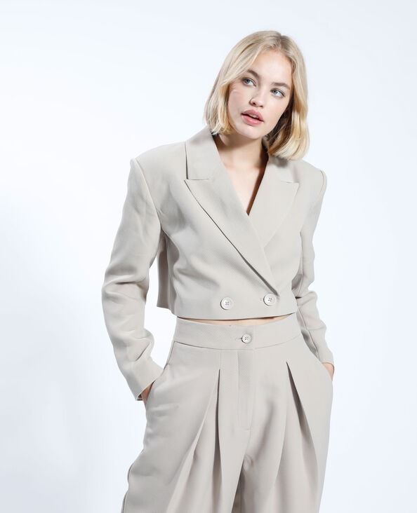 Blazer oversize cropped beige - Pimkie