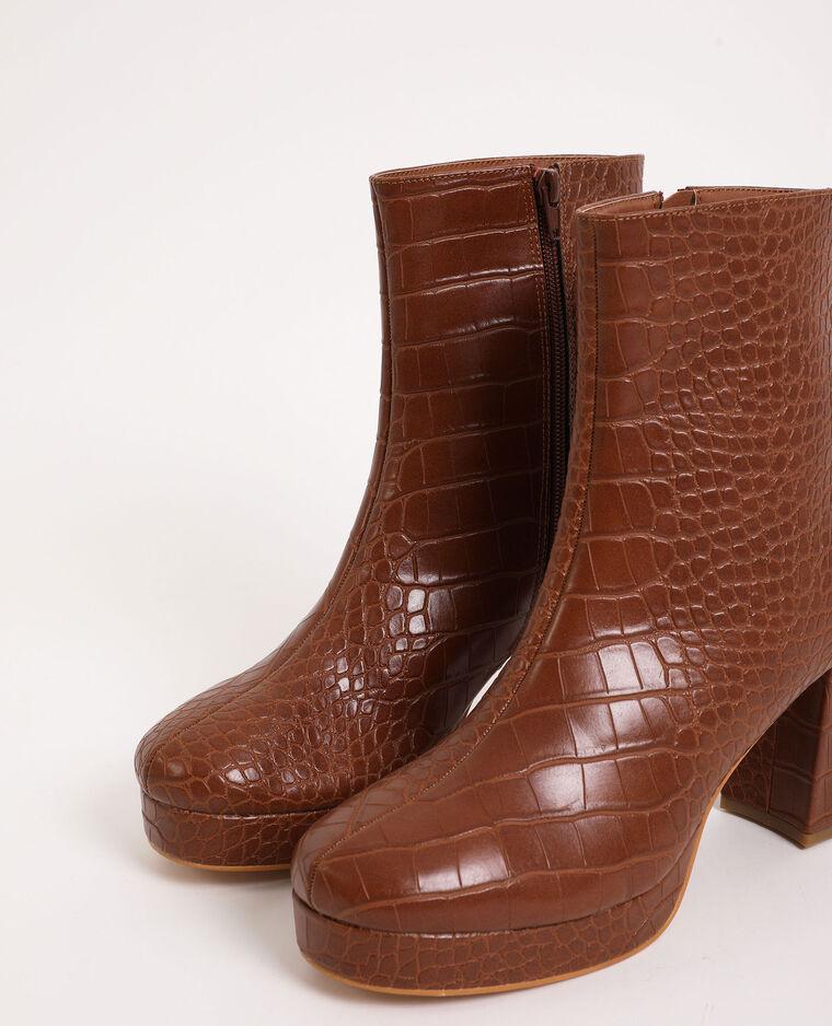 Stivali con plateau marrone - Pimkie