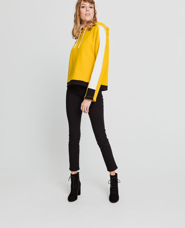 Felpa con cappuccio sportiva giallo