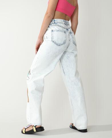 Jeans straight high waist fantasia blu chiaro - Pimkie