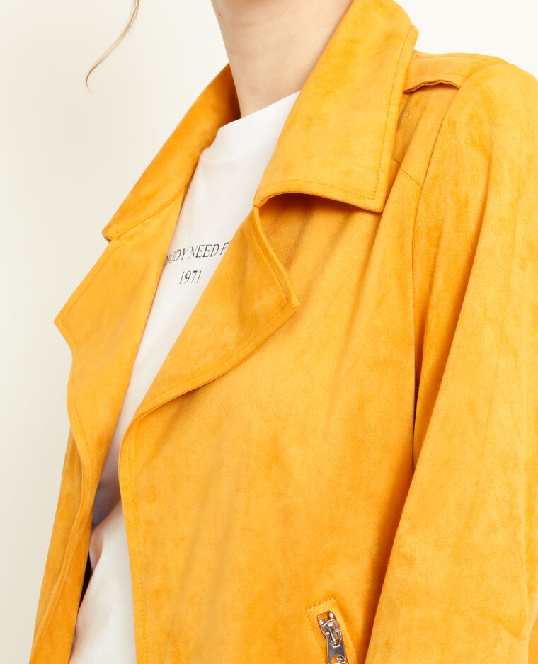 Giacca effetto pelle scamosciata giallo