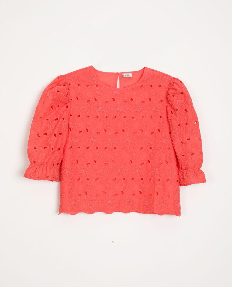 Blusa con ricamo inglese rosa