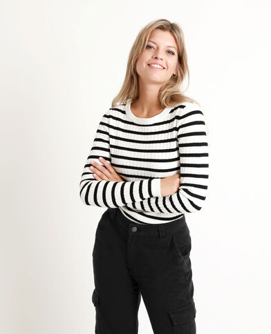 Pull basic a righe bianco sporco