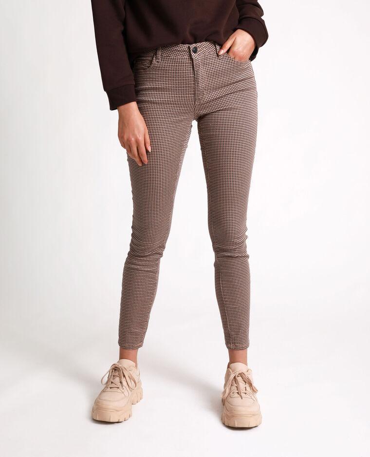 Pantalone skinny stampato marrone