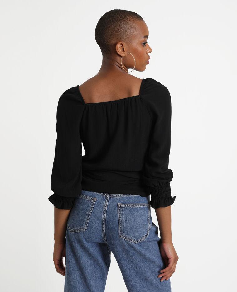 Camicia cache-cœur nero