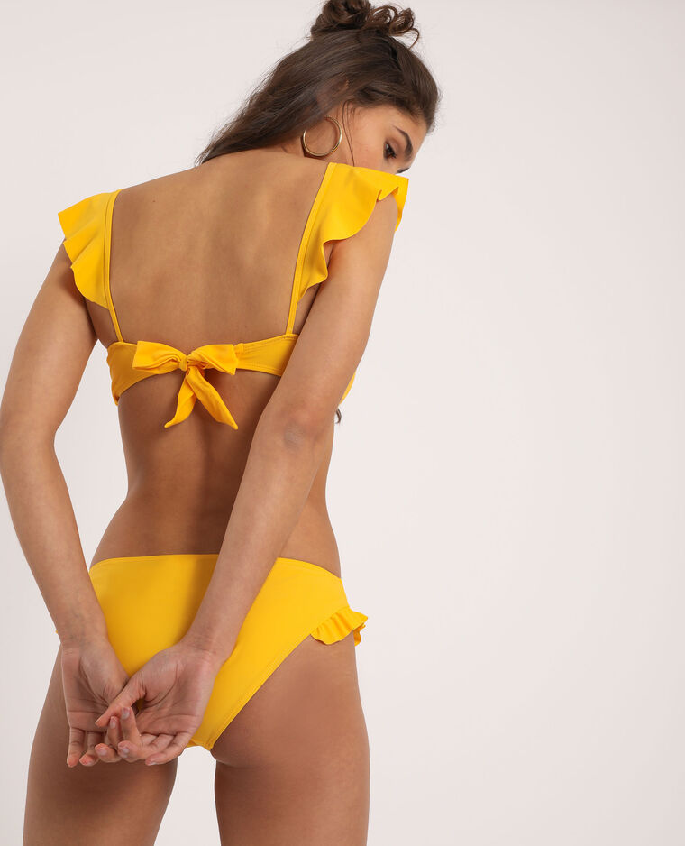 Pezzo sopra di bikini con volant giallo