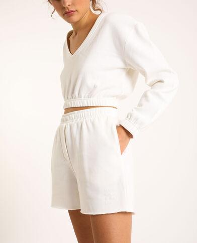 Short in cotone felpato bianco sporco