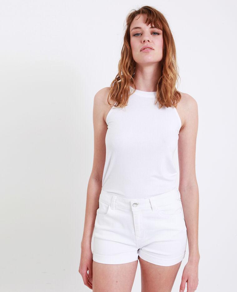 Top in maglia a coste bianco