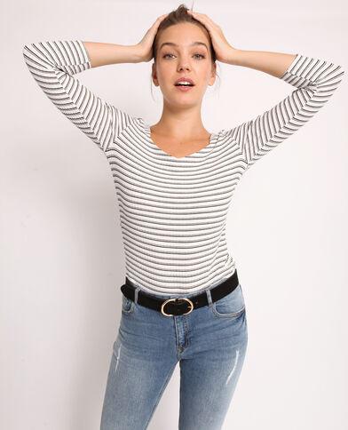 T-shirt con maglia a coste bianco sporco