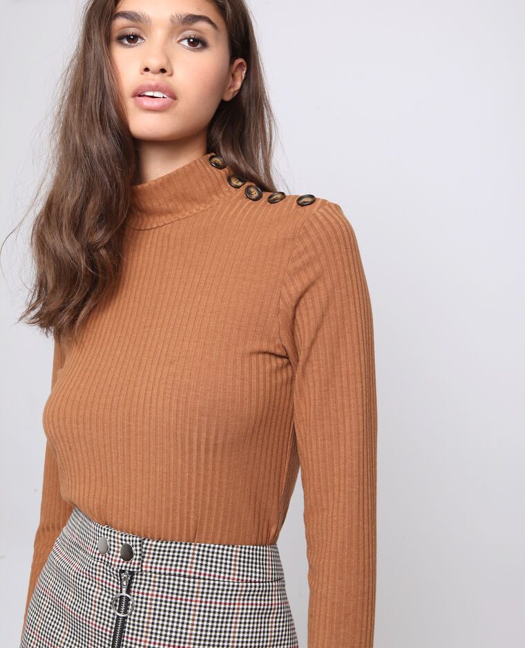 T-shirt abbottonata marrone