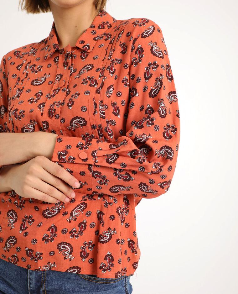 Camicia stampa cachemire marrone