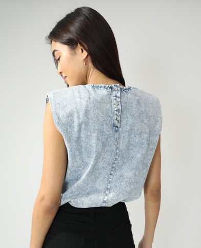 Top di jeans con spalline blu chiaro - Pimkie