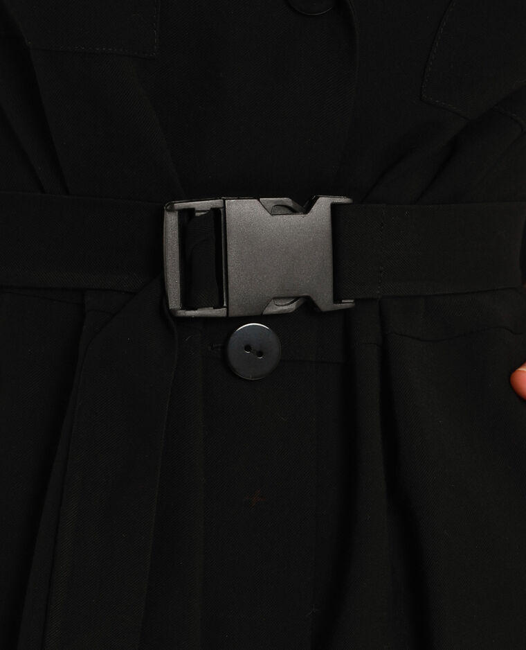 Abito camicia con cintura nero