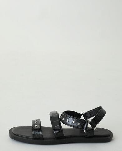 Sandali effetto coccodrillo con borchie nero - Pimkie