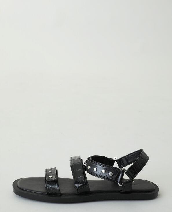 Sandali effetto coccodrillo con borchie nero
