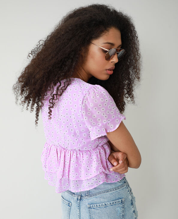 Blusa floreale con volant viola - Pimkie