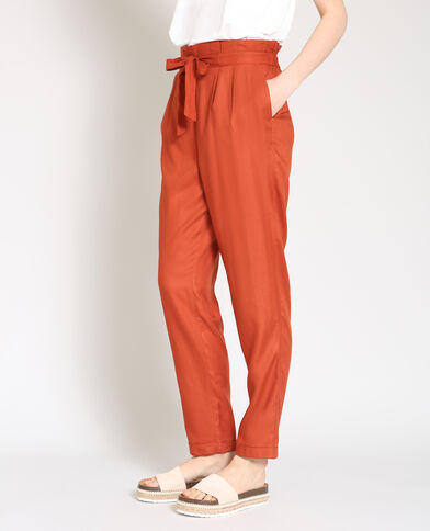 Pantalone morbido mattone