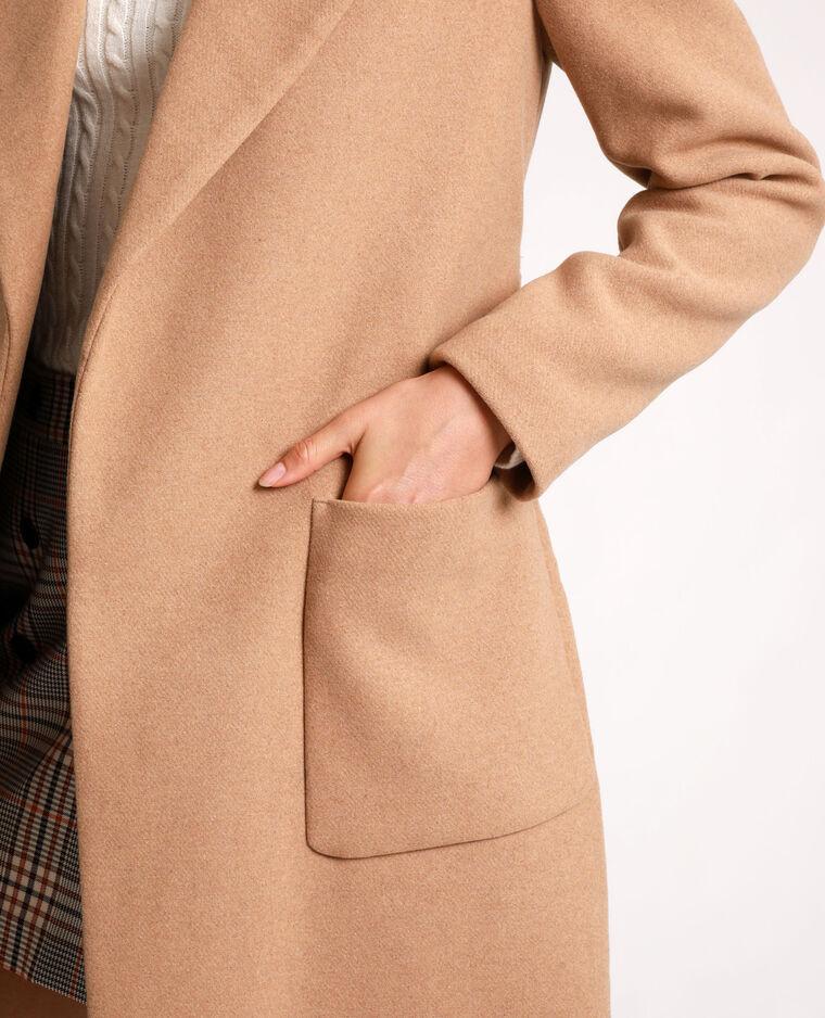 Cappotto dritto con cintura cammello - Pimkie