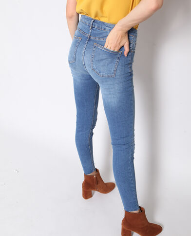 Jeans skinny raw cut blu denim