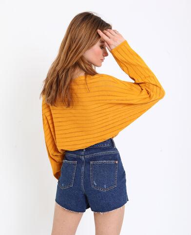 Pull sottile traforato giallo