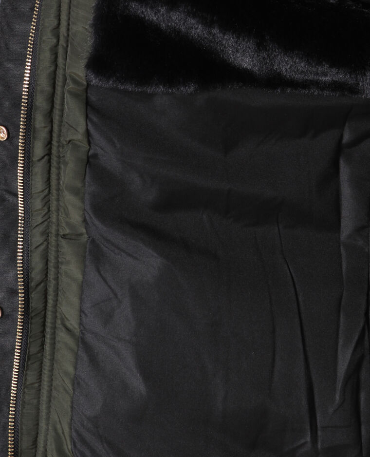Piumino in pelliccia ecologica kaki