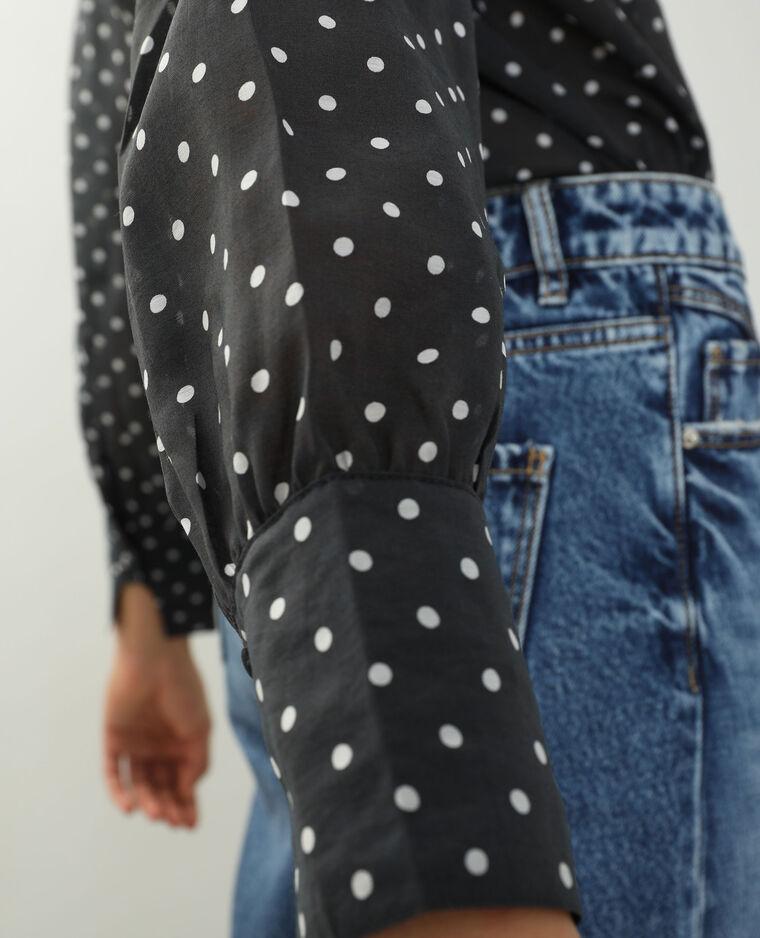 Camicia trasparente a pois nero