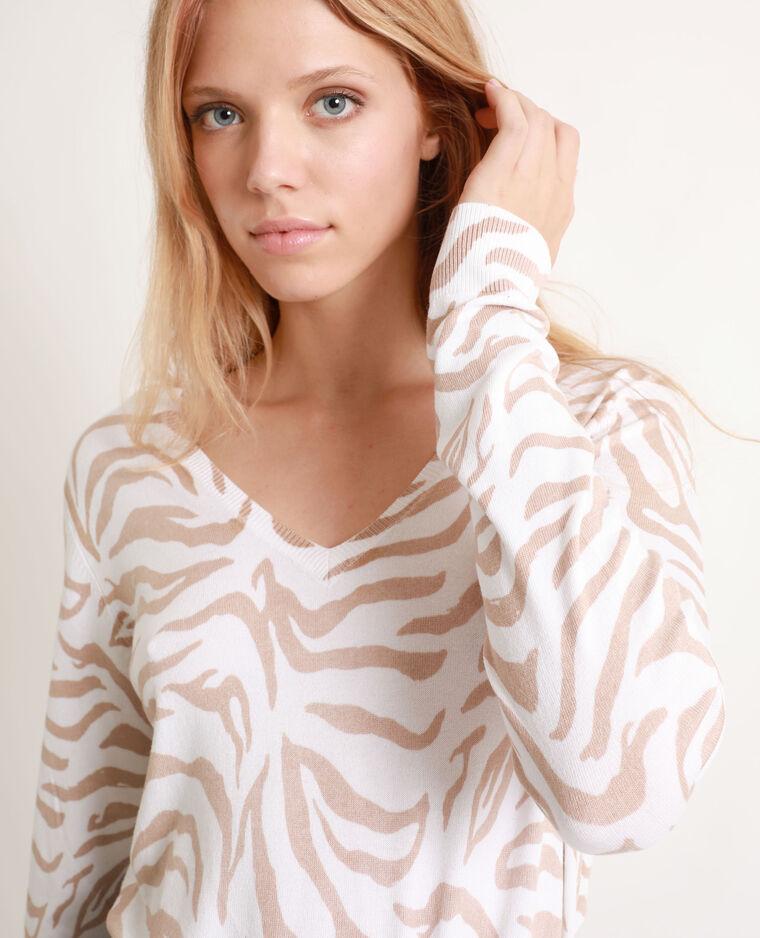 Pull sottile zebrato bianco sporco