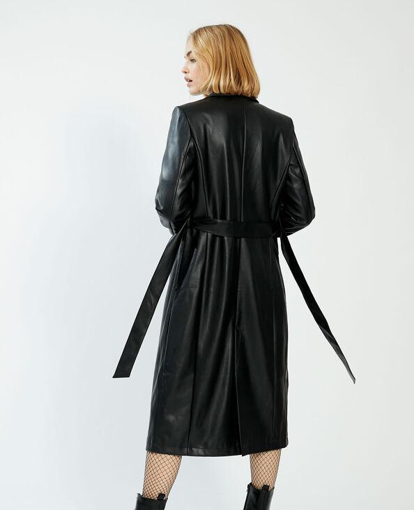 Cappotto lungo in similpelle nero - Pimkie