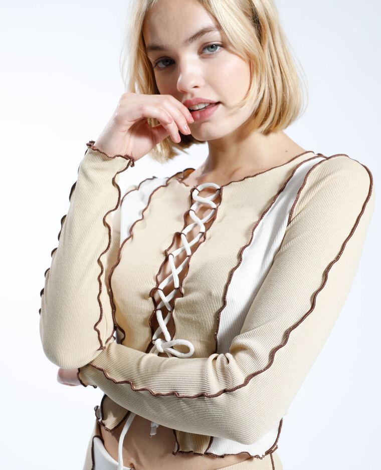 T-shirt con lacci bicolore écru - Pimkie