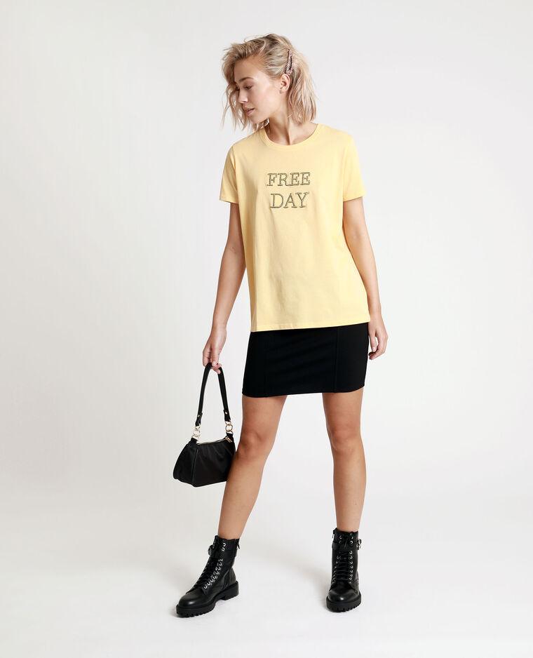 T-shirt ricamata giallo