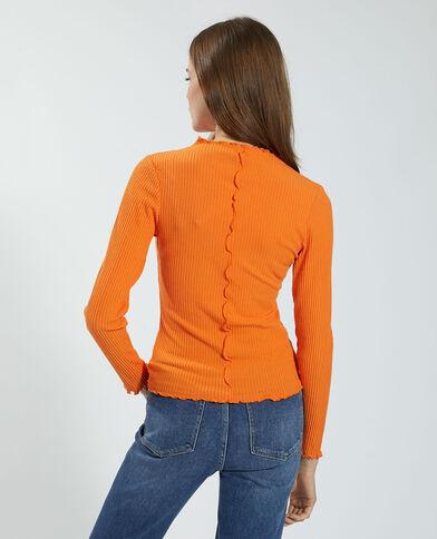T-shirt a coste e ondulata arancio - Pimkie