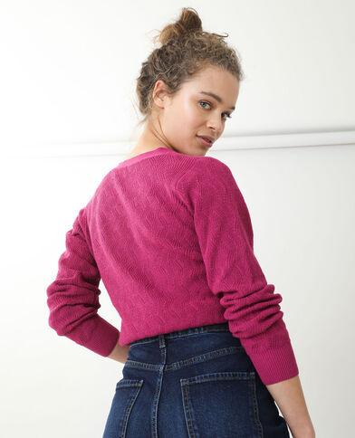 Cardigan in maglia fantasia rosa fucsia