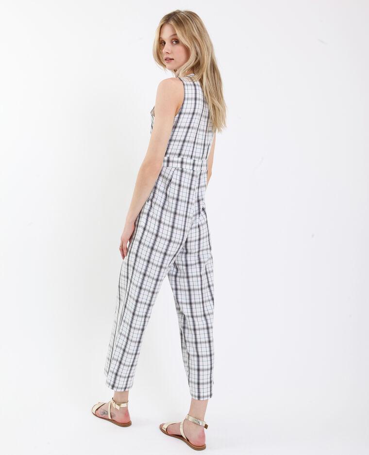 Abito-pantalone a quadri bianco