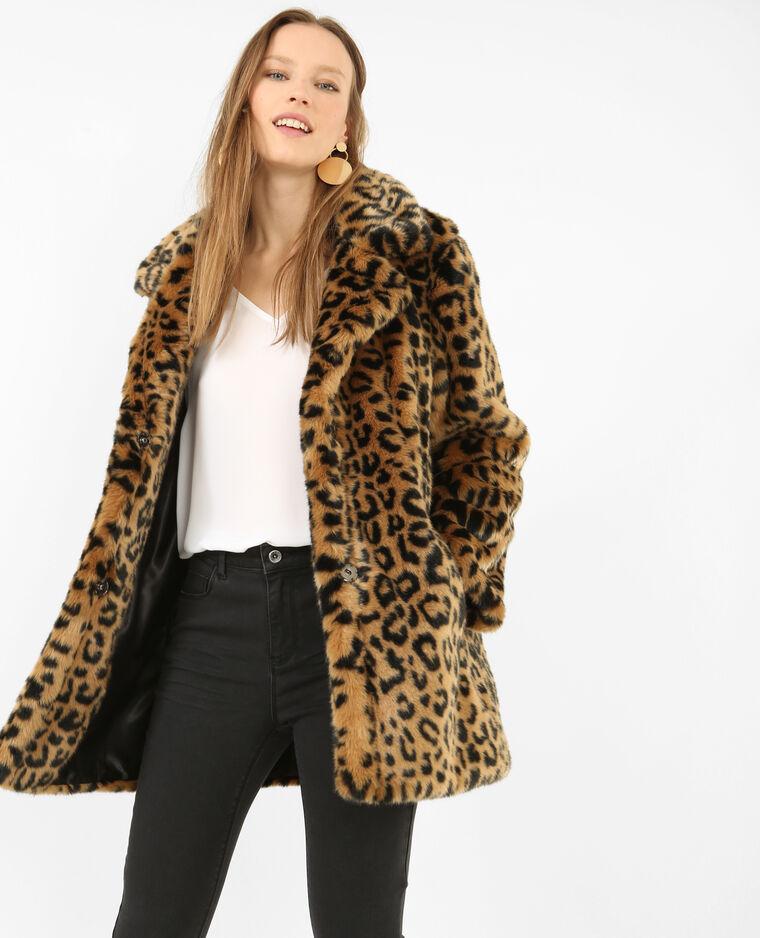 super popular ec47a d2c7c Cappotto leopardato in pelliccia ecologica