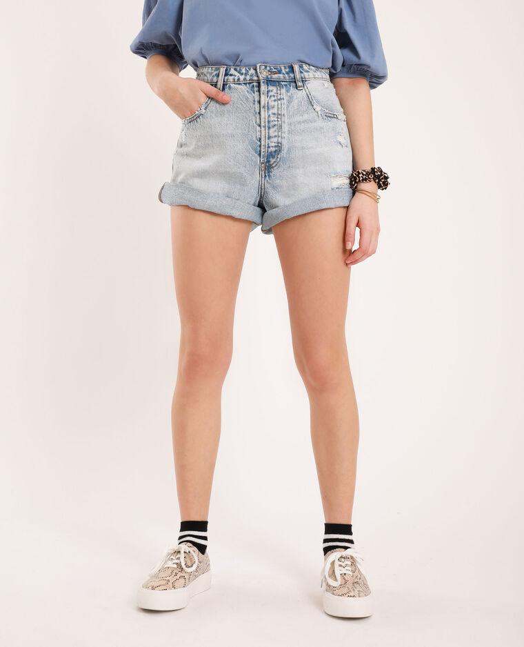 Short in jeans destroy blu delavato