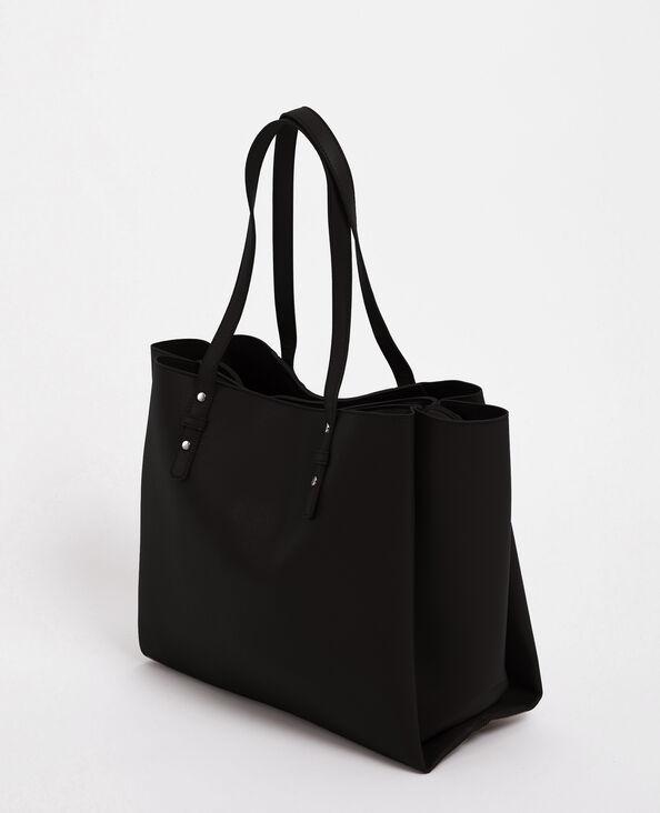 Borsa shopping in finta pelle nero
