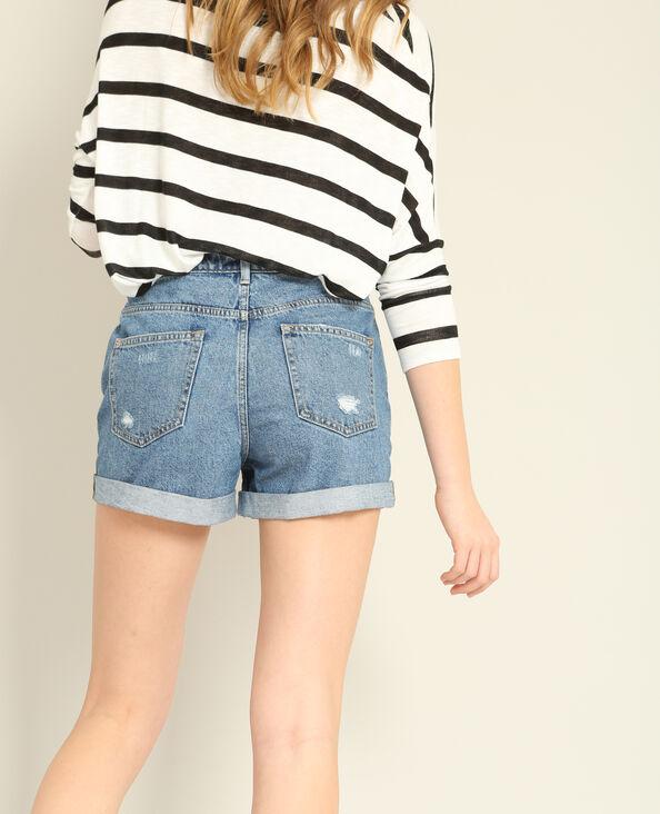 Short mom in jeans blu denim